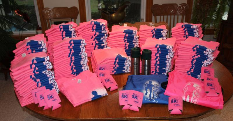 205 PINK t-shirts for the 5K for MDA