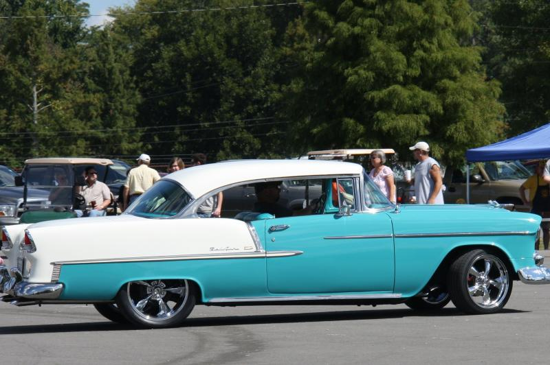 Eric doss of Central city driving his 1955 Chevy into the Livermore Riverfest Cr