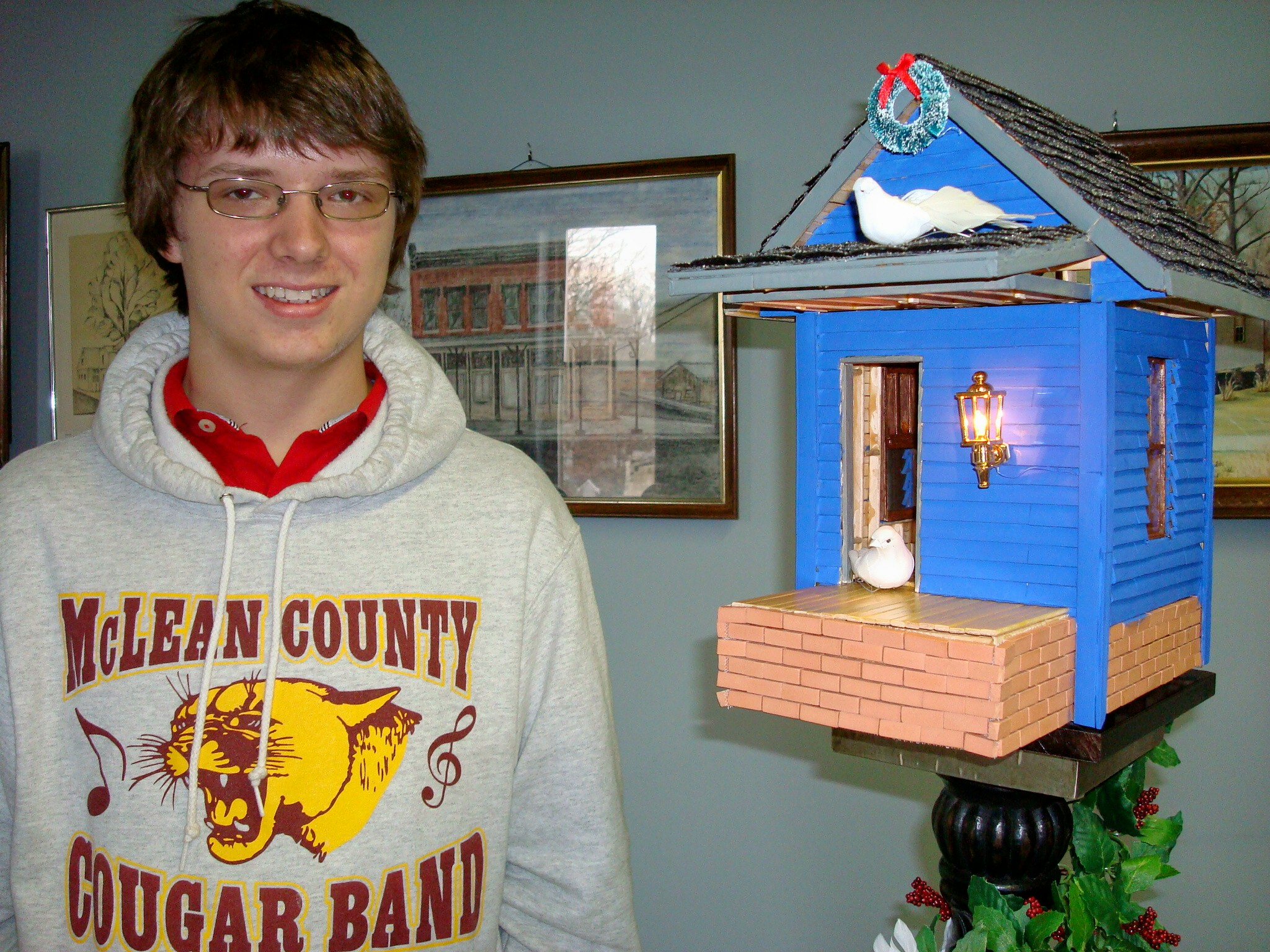 "Caleb Baldwin & his ""Bird Re-tweet House"""