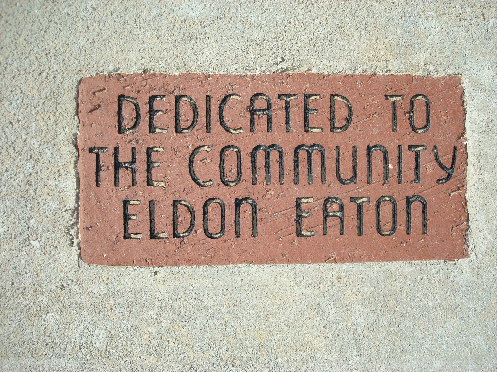 Dedicated to the Community by Mayor Eldon Eaton