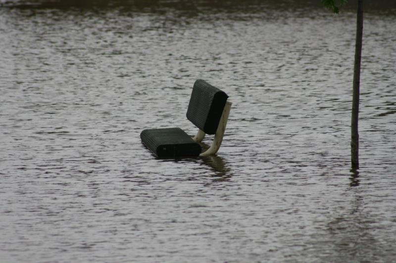 Bench seat almost under water
