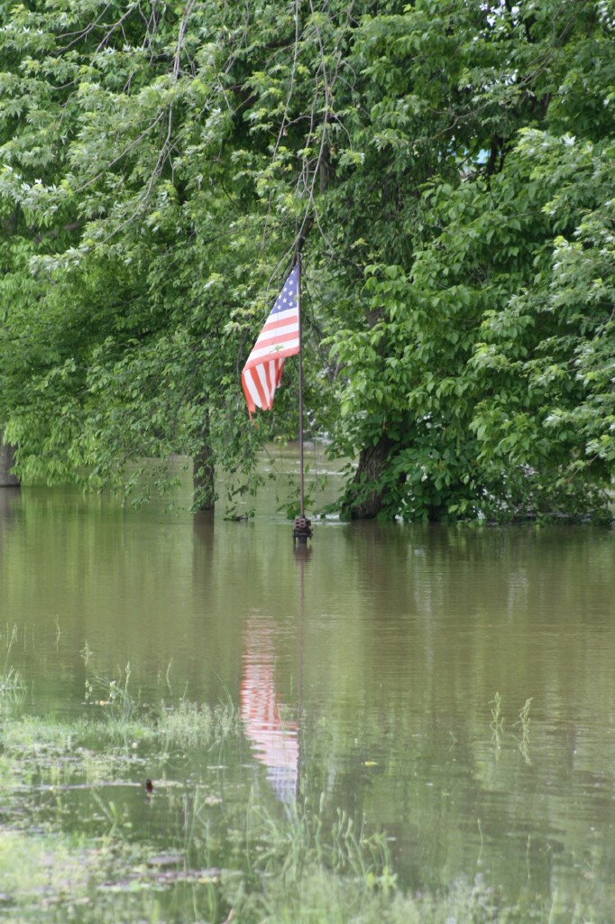 Flag reflected in flood waters