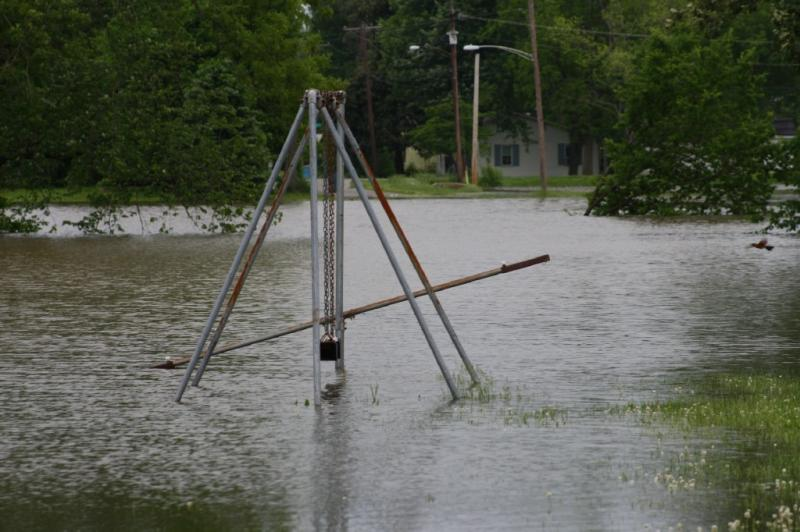 Swingset in the flood waters