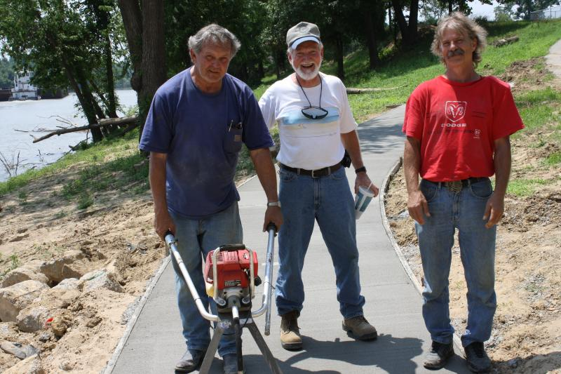 BJ Strong, Sonny Renfrow and Harold Kasinger working on the Riverwalk