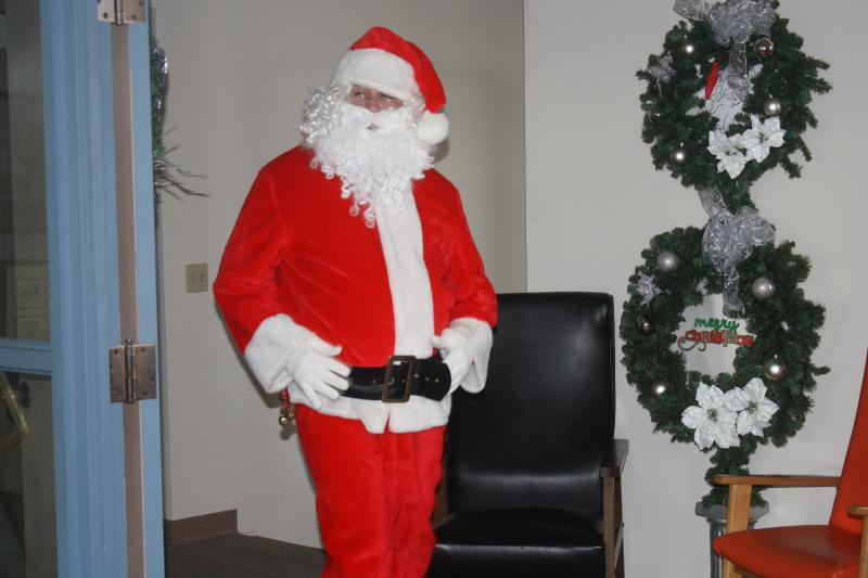 Santa arriving at the Library